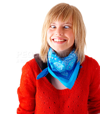 Buy stock photo Portrait of a happy young blonde girl smiling and pulling a cross-eyed face. Wearing blue scarf and red sweater. This collections unique keyword is: emma123