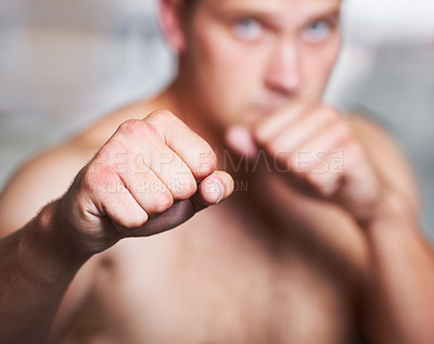 Buy stock photo Closeup of a boxer's fists