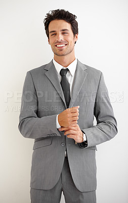 Buy stock photo Shot of a young man in a blazer