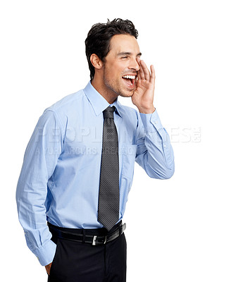 Buy stock photo A handsome smiling businessman isolated on white
