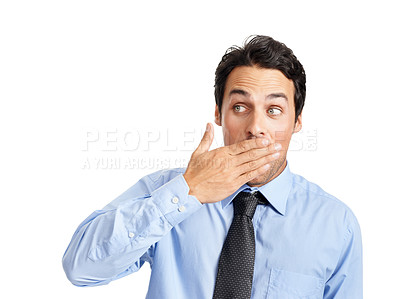 Buy stock photo A shocked young businessman with his hand over his mouth