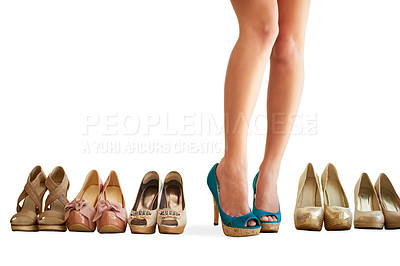 Buy stock photo Cropped image of a woman standing in her new pair of shoes