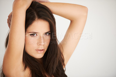 Buy stock photo Cropped shot of a beautiful brunette