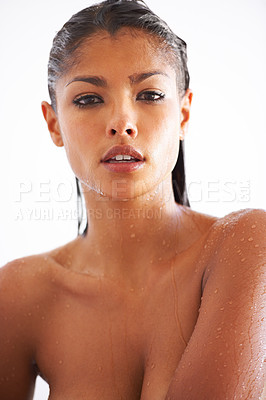 Buy stock photo Head and shoulders portrait of an attractive naked woman taking a shower