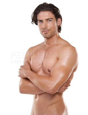 Buy stock photo Cropped portrait of a handsome naked man against a white background