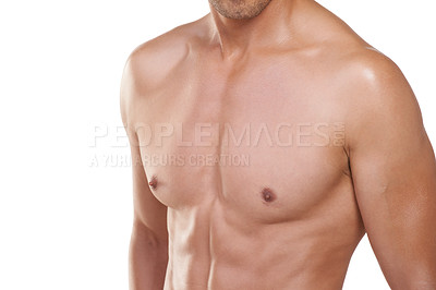 Buy stock photo Cropped view of a well-defined male chest against a white background
