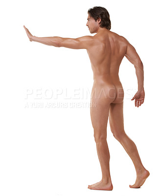 Buy stock photo Nude shot of muscular man standing against a white background