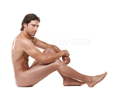 Buy stock photo Full length of a handsome naked man sitting against a white background