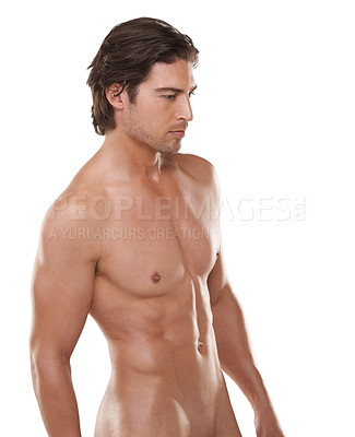 Buy stock photo Cropped view of a naked man looking away against a white background