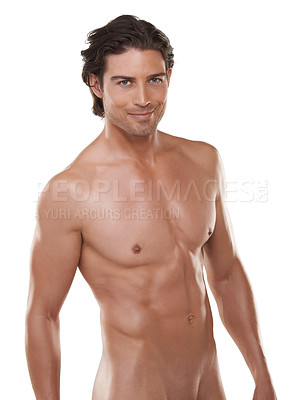 Buy stock photo Portrait of a naked man smiling against a white background