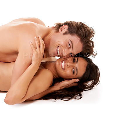 Buy stock photo Studio shot of a happy couple enjoying an intimate moment against a white background