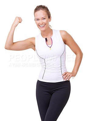 Buy stock photo Portrait of a beautiful young woman showing you her bicep