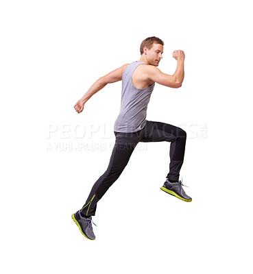 Buy stock photo Sideways studio shot of a man running through the frame isolated on white