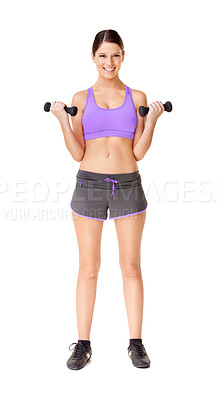 Buy stock photo Full length studio shot of an attractive young woman lifting weights isolated on white
