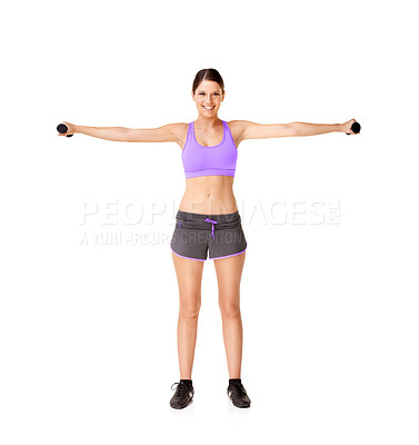 Buy stock photo Full length studio shot of a young woman lifting weights isolated on white