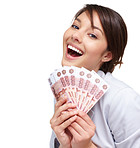 Cute female smiling with fan of currency notes on white