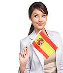 Patriotic female with an Spanish flag thinking on white