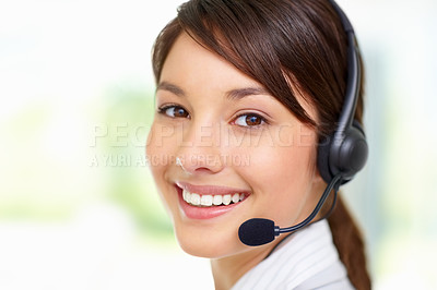 Buy stock photo Closeup portrait of a pretty happy female with a headset , call centre employee