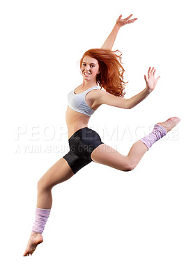 Buy stock photo Young dancer jumping against a white background