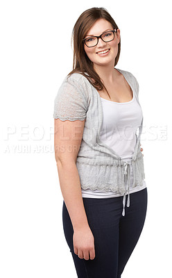 Buy stock photo A lovely young woman posing on an isolated background