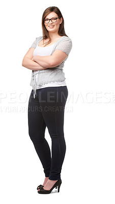 Buy stock photo A pretty full-figured woman posing confidently on a white background