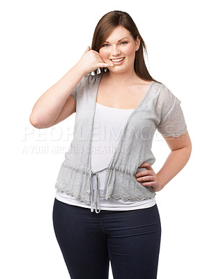 Buy stock photo A full-figured beauty gesturing for you to call her