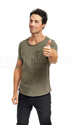 Buy stock photo A handsome young man giving you the thumbs up