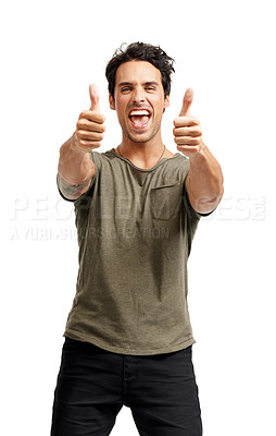 Buy stock photo A handsome young man giving you two thumb's up