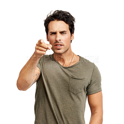 Buy stock photo A handsome young man pointing an accusatory finger at you