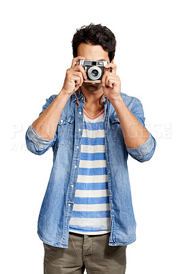 Buy stock photo A handsome young man taking a picture of you