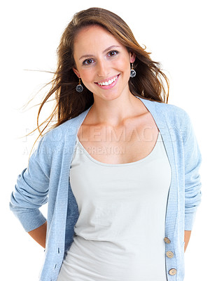 Buy stock photo Portrait of a beautiful young woman looking happy against a white background - isolated