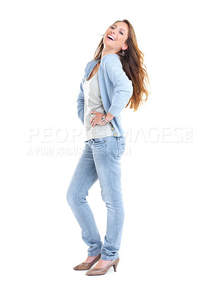 Buy stock photo Full length portrait of a happy young female laughing against white background