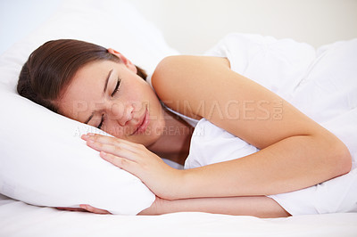Buy stock photo A young woman fast asleep
