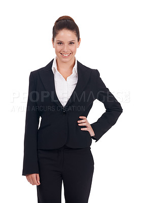 Buy stock photo Studio shot of a happy-looking young business woman standing with her hand on her hip isolated on white