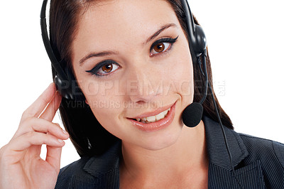 Buy stock photo Closeup portrait of a young businesswoman talking on a headset isolated on white