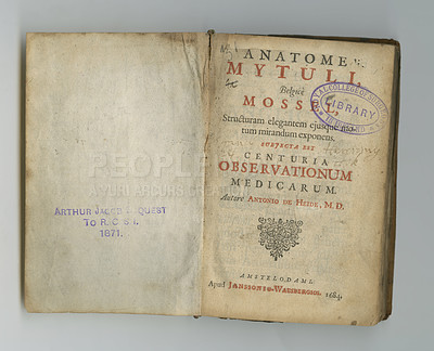 Buy stock photo An antique book with its pages on display