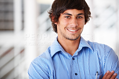 Buy stock photo Portrait of a young designer sitting in the studio