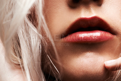 Buy stock photo Cropped shot of a woman's lucious lips