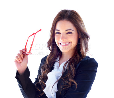 Buy stock photo Portrait of an attractive young businesswoman with her glasses in her hand