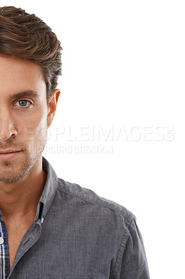 Buy stock photo Cropped portrait of a handsome young man against a white background