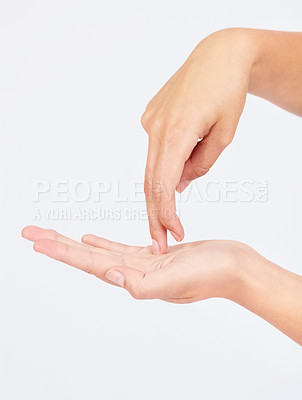 "Buy stock photo Cropped image of fingers gesturing ""walking"""