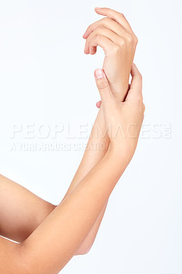 Buy stock photo Cropped image of hands rubbing together - Skin care