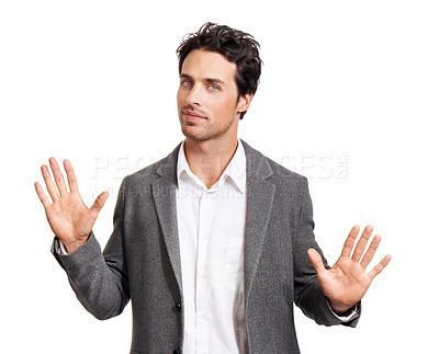 Buy stock photo Portrait of a handsome young businessman gesturing with his hands raised