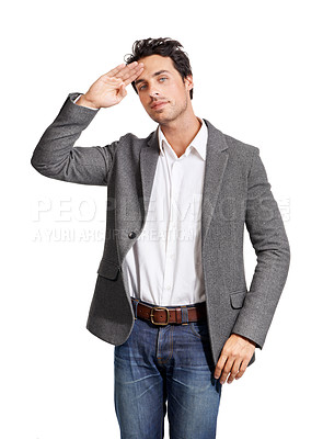 Buy stock photo Portrait of a handsome young man giving you a salute