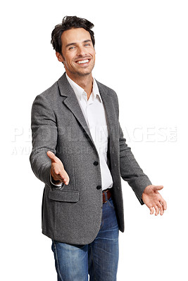 Buy stock photo Portrait of a handsome young man gesturing for a handshake