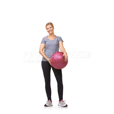Buy stock photo A beautiful young woman in gymwear holding a medicine ball