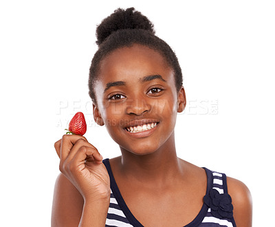 Buy stock photo Portrait of a happy young african american girl holding a strawberry isolated on white