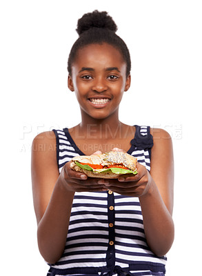 Buy stock photo Portrait of a happy young african american girl holding a salad sandwich isolated on white
