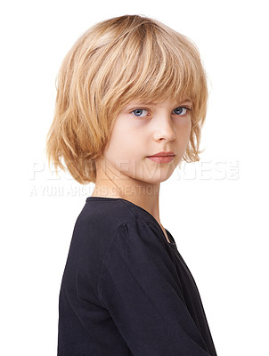 Buy stock photo Portrait of a beautiful little girl standing profile against a white background