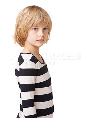 Buy stock photo Portrait of a pretty little girl standing profile against a white background